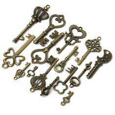 15pcs Mixed Vintage Bronze Crown Heart Key Necklacee Pendant Charm DIY