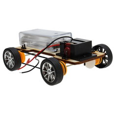 DIY Wooden Four-wheel Drive Electric Car Creative Assembles Toy