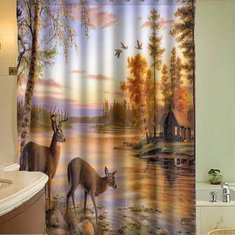 150x180cm Polyester Fiber Waterproof Deer Shower Curtain With 12 Hooks Bathroom Decor