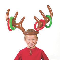 Christmas Children Kids Inflatable Santa Funny Reindeer Antler Hat Ring Toss Holiday Party Game Supplies Toys