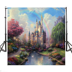 6x6ft Vinyl Fairytale Castle River Rainbow Photography Background Photo Backdrops