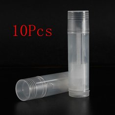 10Pcs Empty Clear Lip Balm Tubes Containers Small Transparent Lipstick Bottle