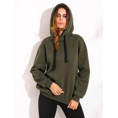 Casual Women Drawstring Long Sleeve Zipper Hem Hoodies