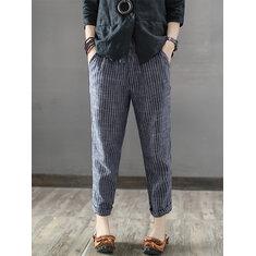 b19b02ad14661 ... Women Striped High Elastic Waist Long Harem Pants