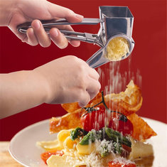 Stainless Steel Rotary Cheese Chocolate Grater 3 Drums Slice Shred Kitchen Tool