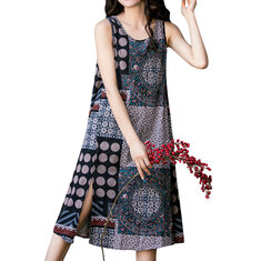 Women Sleeveless Random Printed Patchwork Split Hem Casual Dresses