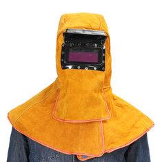Leather Solar Auto Darkening Filter Lens Protect Welding Neck Mask Helmet