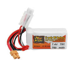 ZOP POWER 7.4V 750mAh 75C 2S Lipo Battery With JST/XT30 Plug