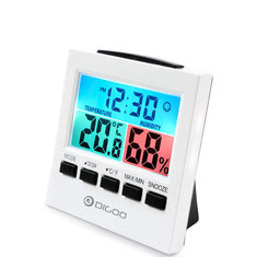Digoo DG-C6 Digital Home Indoor Thermometer Hygrometer Humidity Monitor Gauge with Backlight Alarm Clock with Colorful LCD Gauge Meter