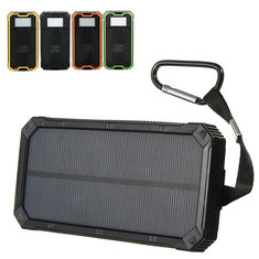 8000mAh Solar Waterproof Portable Charger Dual USB Battery Power Bank