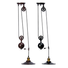 E27 Vintage Industrial Retro Hanging Ceiling Light Chandeliers Pendant Stretch Lamp AC110-240V