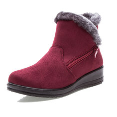 ... New Large Size Women Winter Boots Round Toe Ankle Short Snow Boots 95bf295871