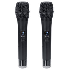 Professional UHF Double Wireless Handheld Karaoke Microphone with 3.5mm Receiver