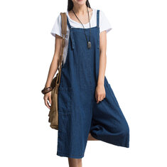 S-5XL Plus Size Women Loose Denim Blue Strap Pocket Jumpsuit Trousers