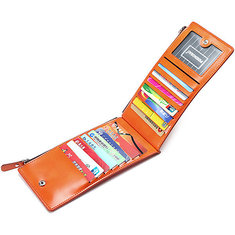 Waxy Ultra Thin Leather 15 Card Holder Women Long Wallet Purse Men Multi Card Holder Coin Bags