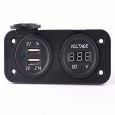 Motorcycle Auto Dual Usb Charger Adapter With Volt Meterr Socket