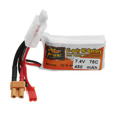 ZOP POWER 7.4V 450mAH 75C 2S Lipo Battery With JST Plug XT30 Plug For RC Models
