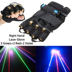 3 Green+2 Red+2 Violet Laser Glove Stage Lighting DJ Dancer Show For Right Hand