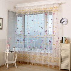 Honana WX C6 Colorful Butterfly Flower Voile Curtain Panel Window Room Divider Sheer Home