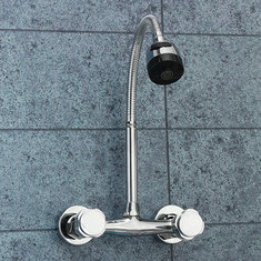 Chrome Basin Sink Mixer Tap Dual Handle Hot Cold Water Faucet Adjustable Swivel Spout Kitchen