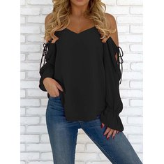 Sexy Women Chiffon Pure Color Flared Sleeve Strap Blouse