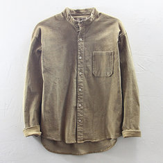 609c9a082b7 ... Mens Vintage 100% Cotton Casual Stand Collar Corduroy Shirts
