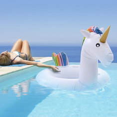 68.9x47.2inch Inflatable Giant Unicorn Summer Swimming Ring Float Toy for Adult Raft Swimming Tools