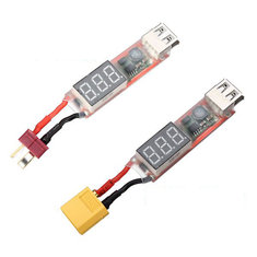 2S-6S Lipo to USB Power Converter Adapter w/Digital Display 5V 2A