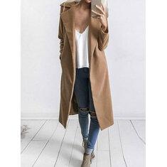 Solid Color Pocket Long Coat