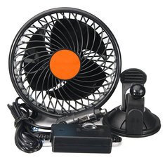 12V/24V 6 Inch 360 Degree Rotation Car Auto Air Cooler Fan Suction Cup Quiet Vehicle