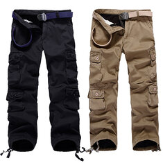 Mens Thick Outdoor Multi Pockets Polar Fleece Lined Cotton Cargo Pants