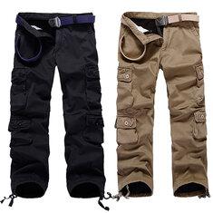 Mens Thick Outdoor Multi Pockets Polar Fleece Lined Cotton Cargo Pants