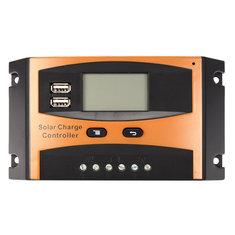 12V/24V 20A Auto USB Charge Controller Solar Panel LCD Display PWM Regulator