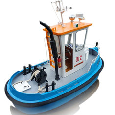 1:18 Pine Mini RC Tugboat Rescue Simulation ABS Wooden Boat Model Ship DIY Tools Kit Q1