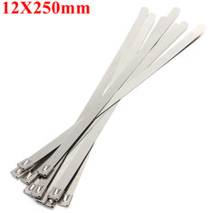 10pcs 12X250mm Ball Lock Metal Stainless Steel Zip Ties Wrap Strap