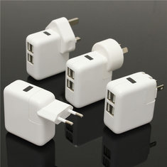2.1A 4-in-1 Port USB Portable Home Wall Charger US EU Plug AC Power Adapter
