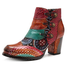 7ceed9f5794 SOCOFY Splicing Pattern Button Zipper Ankle Leather Boots