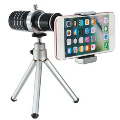 12X Telescope Lens with Mini Desktop Portable Tripod Phone Clip