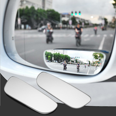 2pcs Slim Car Rear View Blind Spot Mirror 360° Rotating Convex Wide Angle Glass Mirror