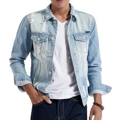 3704a8f5cbe8e ... Light Blue Autumn Worn Ripped Denim Chest Pockets Washed Jean Jacket  for Men