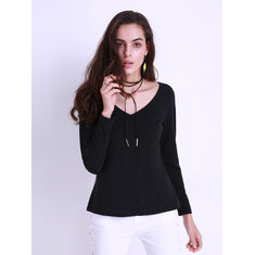 Casual Women V-Neck Basic Slim Long Sleeve T-Shirt