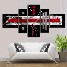 5 PCS Abstract Wall Art Red Black Grey Modern Canvas Print Paintings Home Decorations