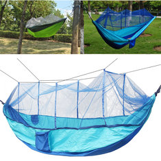 "IPReeâ""? Portable Double Parachute Hammock Nylon Hanging Swing Bed With Mosquito Net Max Load 300kg"