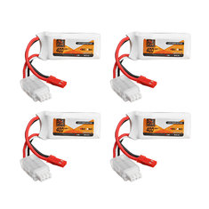 4Pcs ZOP Power 7.4V 400mAh 2S 50C Lipo Battery JST Plug For Eachine Aurora 68 Fatbee FB90