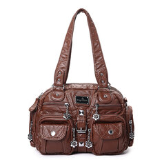 Angel Kiss Women Soft Leather Multi-Pocket Motorcycle Bag