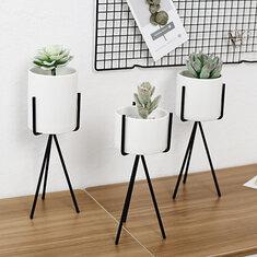 White High Tripod Plant Iron Stand +Ceramic Flower Succulent Pot Display Rack Holder Decor