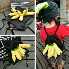 3D Banana Backpack Cute Canvas Fold Shoulder Bags Drawstring Bag for 2-8 Years Old Kids