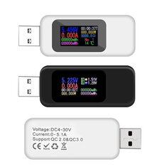 DANIU Digital 10 in 1 Colorful LCD Display USB Tester Voltage Current Tester USB Charger Tester Power Meter Timing Ammeter Digital Monitor Cut-off Power Indicator