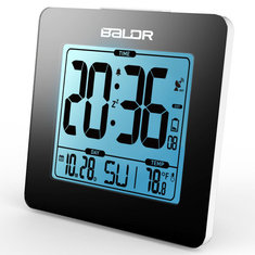 Baldr  Blue Backlight LCD Atomic Alarm Clock Digital Thermometer Calendar Temperature Table Watch Sn