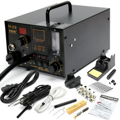 968A+ 4 in1 220V Digital Hot Air Rework and Soldering Station SMD Fume Extractor